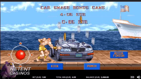 Streetfighter 2 video slot car smash bonusspel