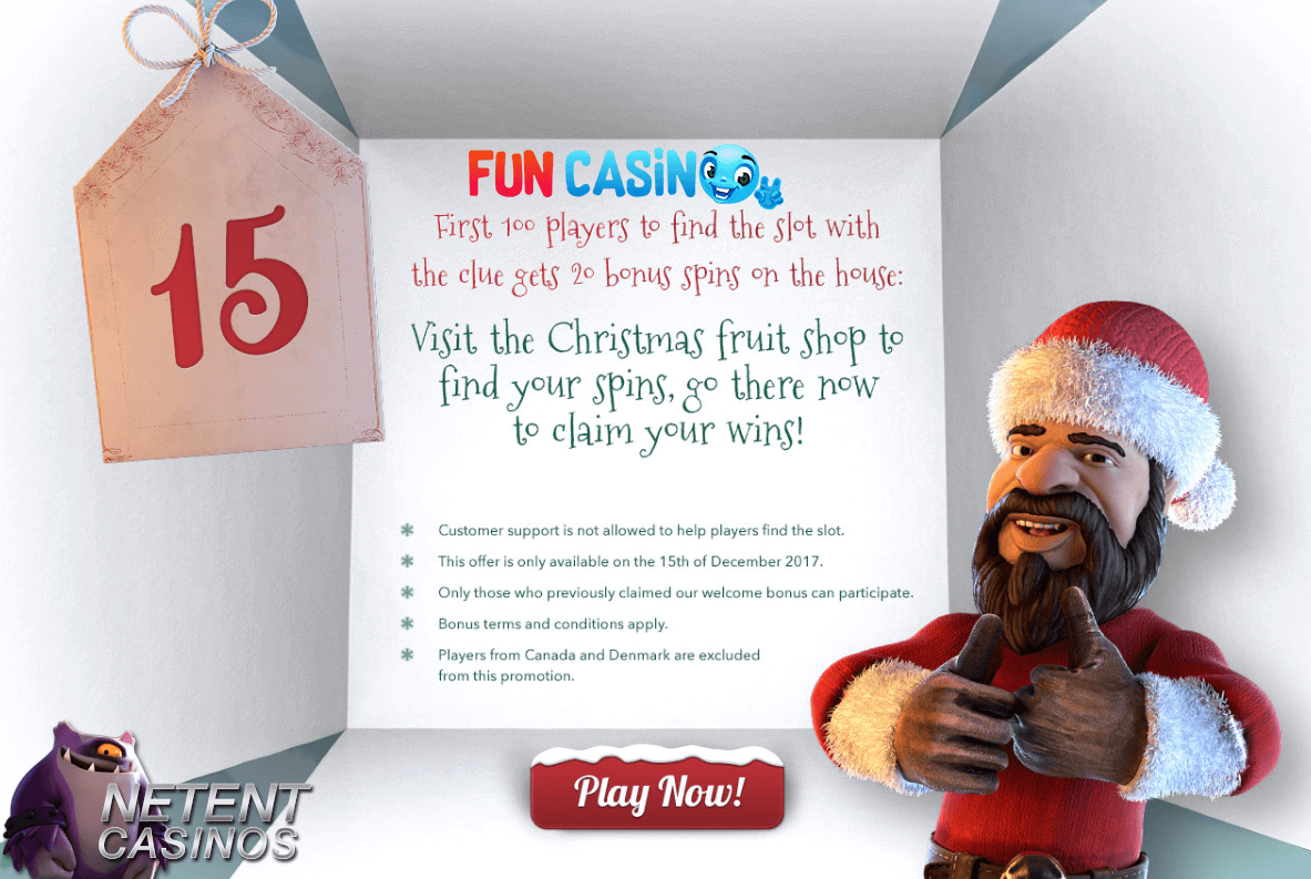 20 Free Spins For The First 100 To Play Fruit Shop Christmas