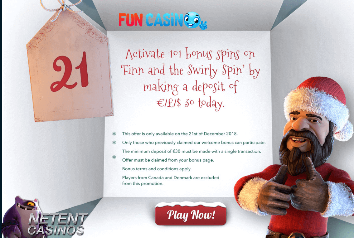 Advent Calender promo 21 Fun Casino