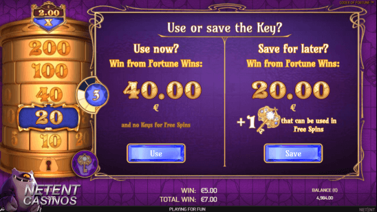 Codex of Fortune™ slot save the keys feature